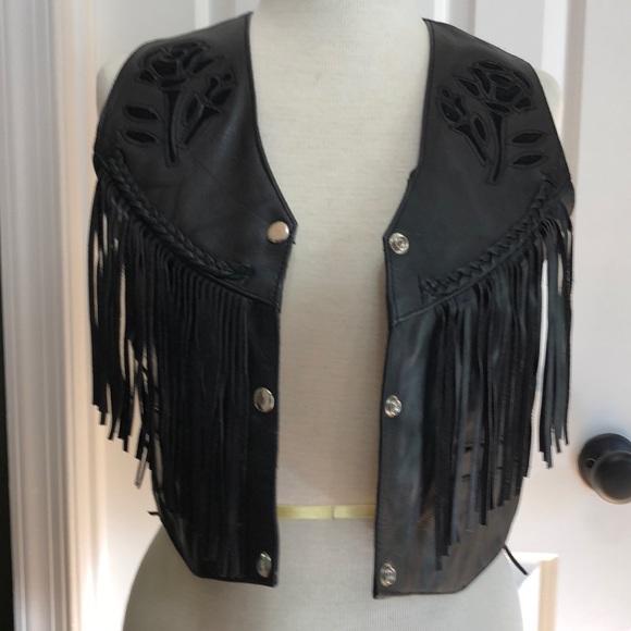 Unik Jackets & Blazers - Unik Black Leather Rose Fringe Vest Size Small